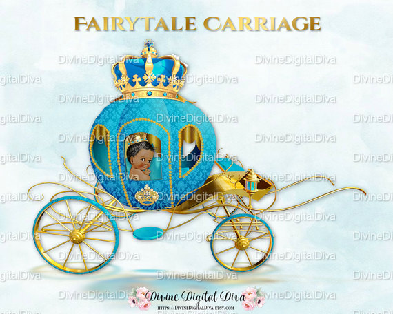 Little coach turquoise gold. Carriage clipart prince charming