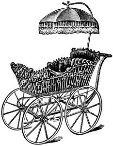 Vintage baby black and. Carriage clipart printable