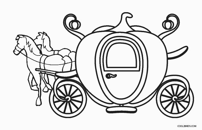 Carriage clipart printable. Cinderella s coloring pages