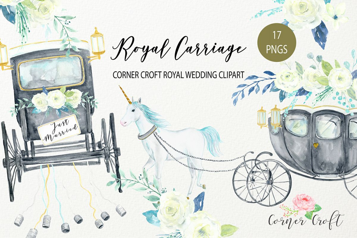 Watercolor brit design bundles. Carriage clipart royal carriage