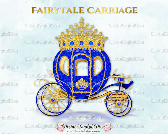 Blue gold prince princess. Carriage clipart royal carriage