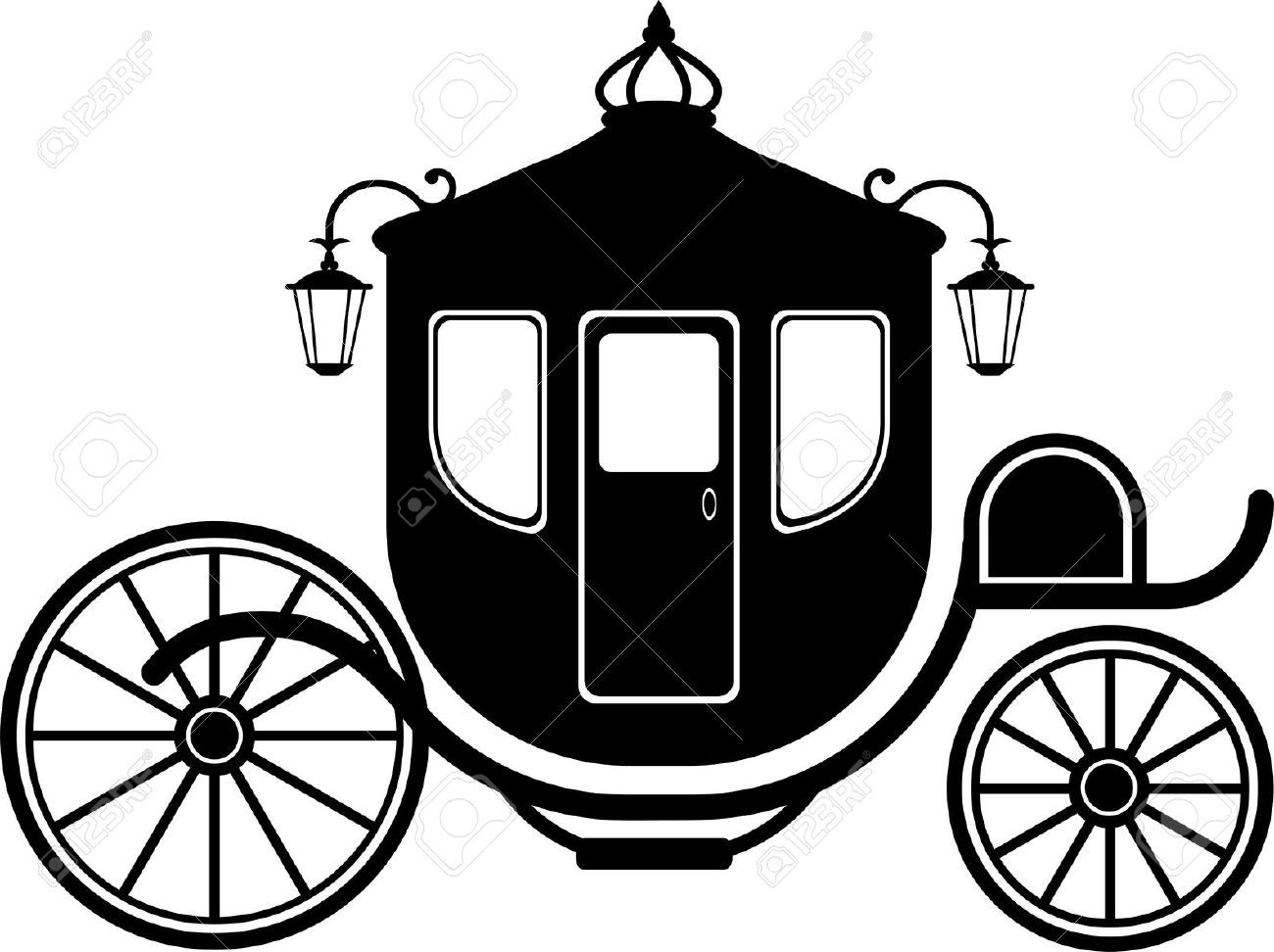 Carriage clipart silhouette.  in over white