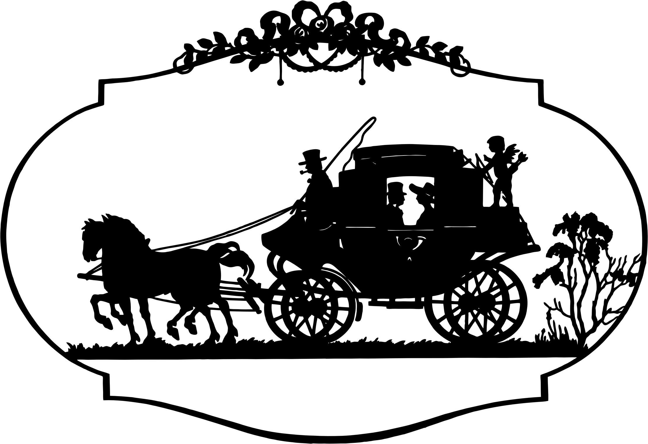 Vintage horse and carriage. Horses clipart vehicle