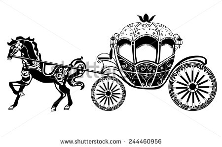 Horse with stock vector. Carriage clipart silhouette