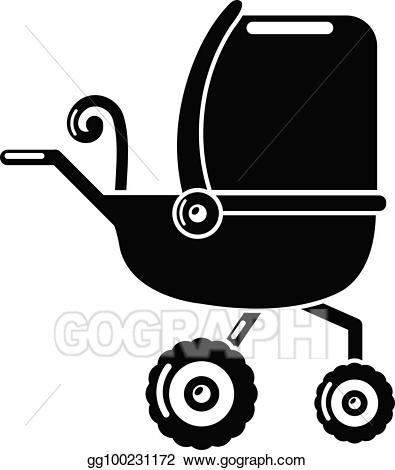 Eps vector baby tricycles. Carriage clipart simple
