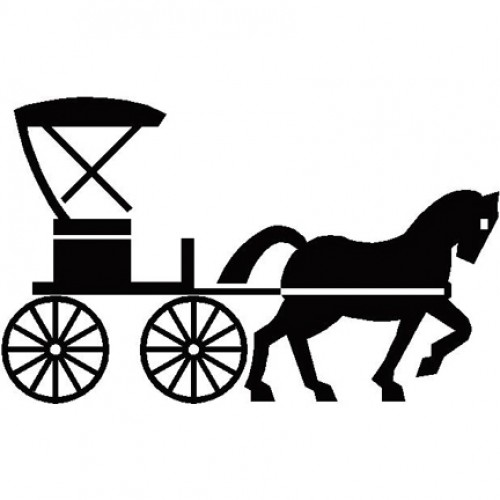 Wagon train silhouette at. Carriage clipart simple
