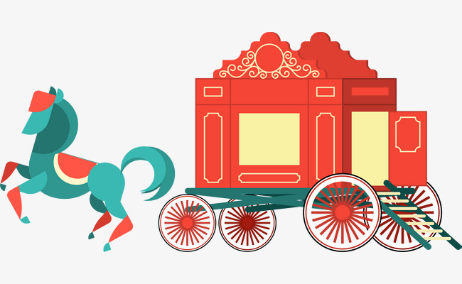 Cartoon red horse png. Carriage clipart simple