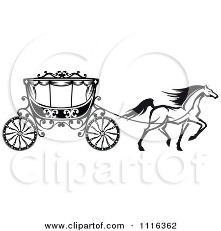 Black and white prancing. Carriage clipart sketch