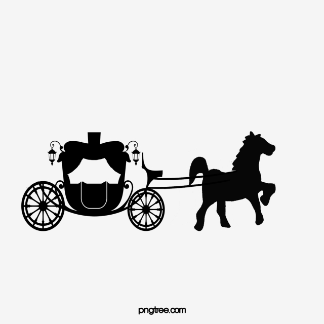 Carriage clipart sketch. Silhouette wedding png