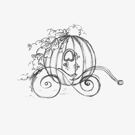 Carriage clipart sketch. Cartoon pumpkin the cinderella