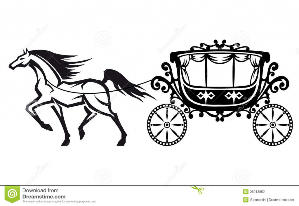 Carriage clipart sketch. Horse and drawing drawn