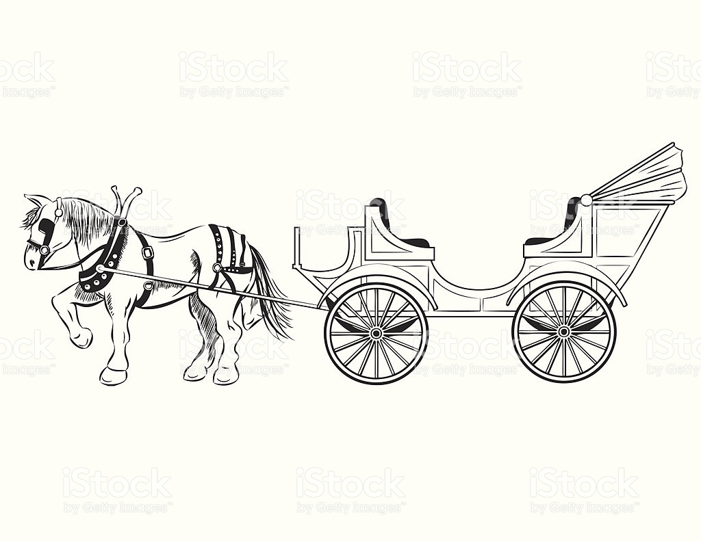 Carriage clipart sketch.  collection of horse