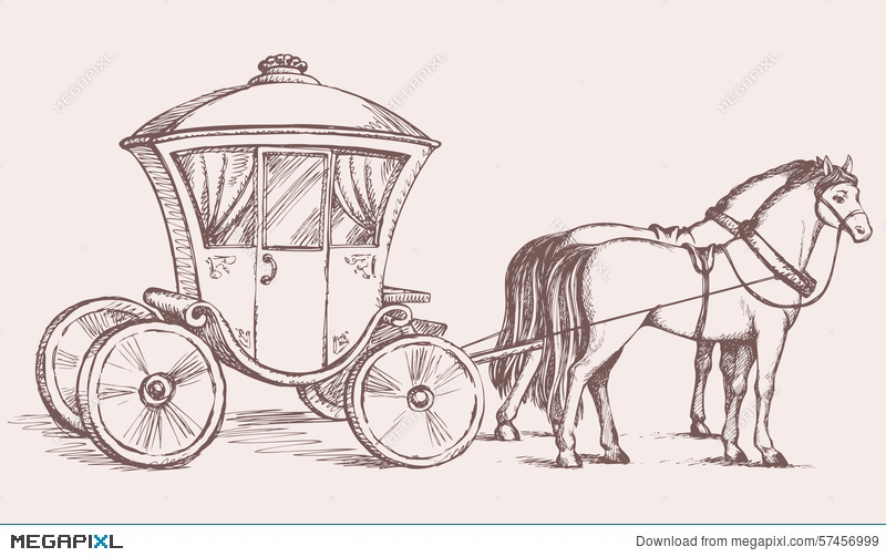 Vector drawing illustration megapixl. Carriage clipart sketch