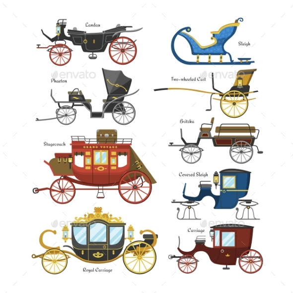 Vintage transport with old. Carriage clipart vector