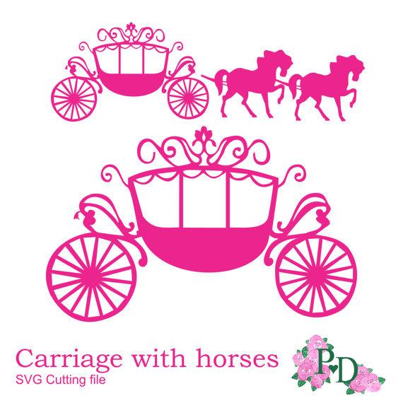 Carriage clipart vector. Horse drawn cinderella pencil