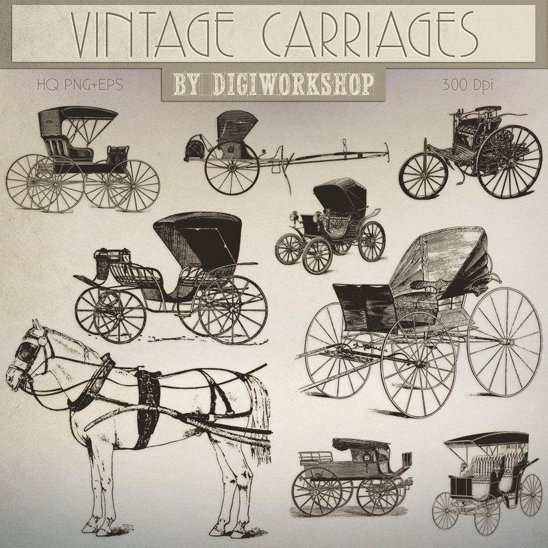 Clip art carriages . Carriage clipart vintage