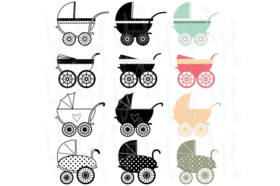 Carriage clipart vintage. Baby illustrations creative market