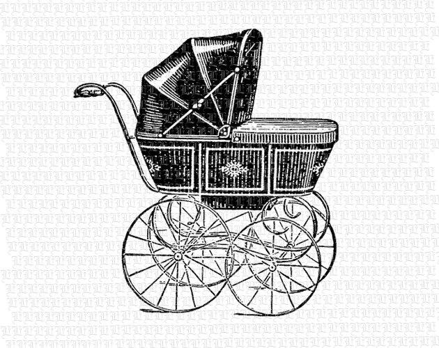 Carriage clipart vintage. Antique victorian baby black