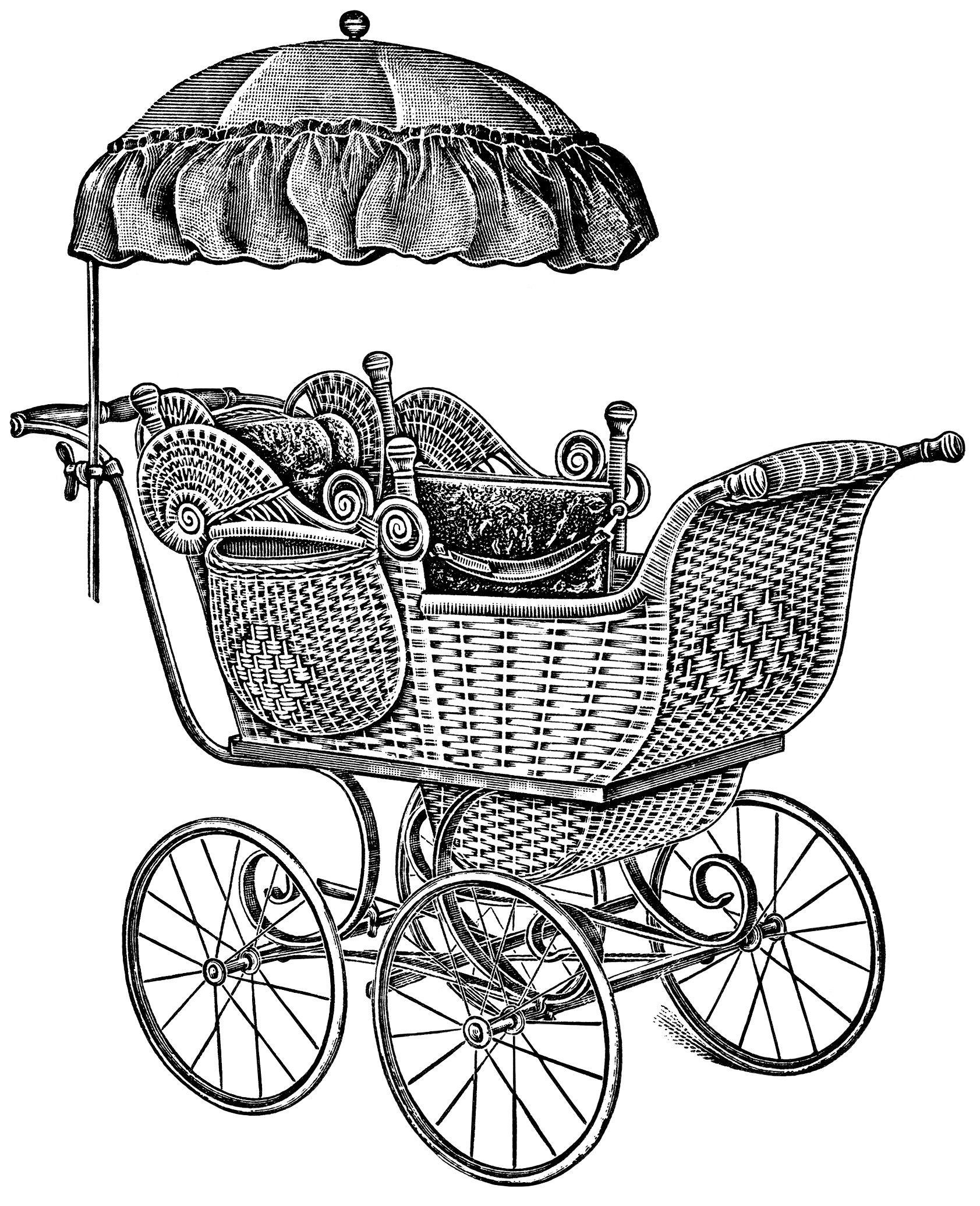 Old catalogue page baby. Carriage clipart vintage