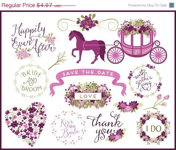 Carriage clipart wedding carriage. Words clip art graphics