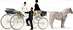 Carriage clipart wedding carriage. Bride and groom a