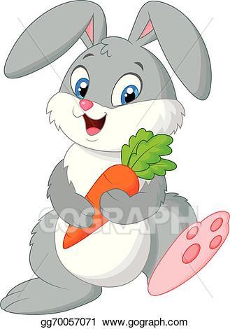 Vector stock happy rabbit. Clipart bunny carrot