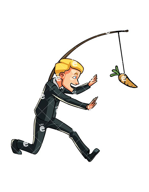 Businessman chasing on a. Carrot clipart carrot stick