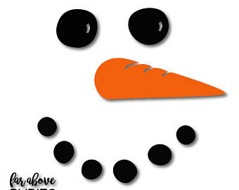 Snowman face etsy with. Carrot clipart christmas