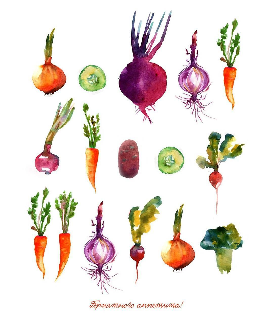 bonappetit watercolorpattern vegetables. Carrot clipart watercolor