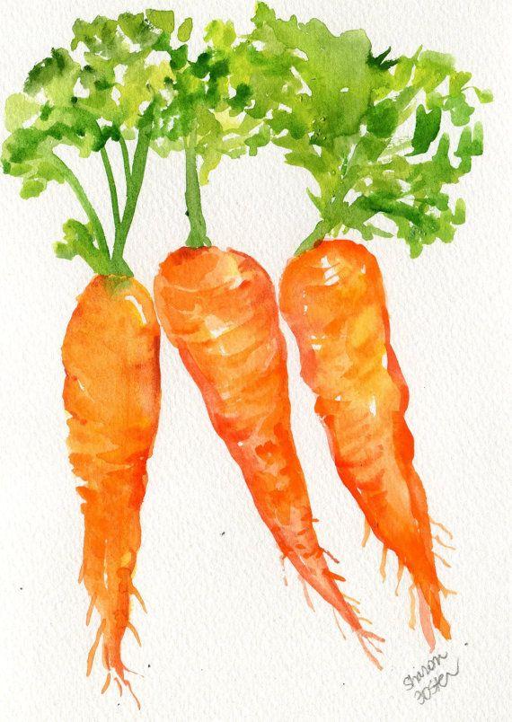 Carrot clipart watercolor. Original carrots painting x