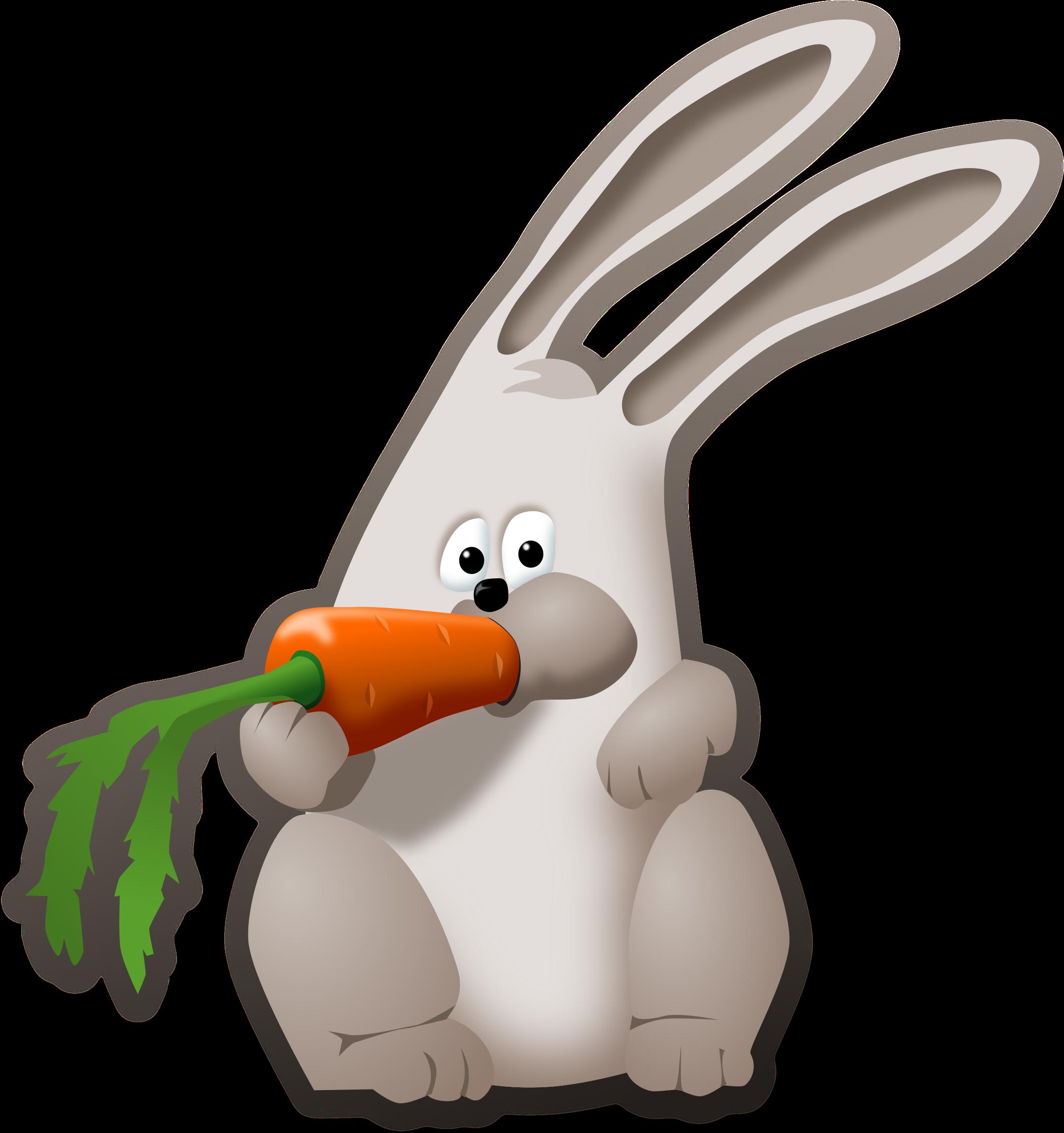 Bunny eating big image. Clipart rabbit carrot