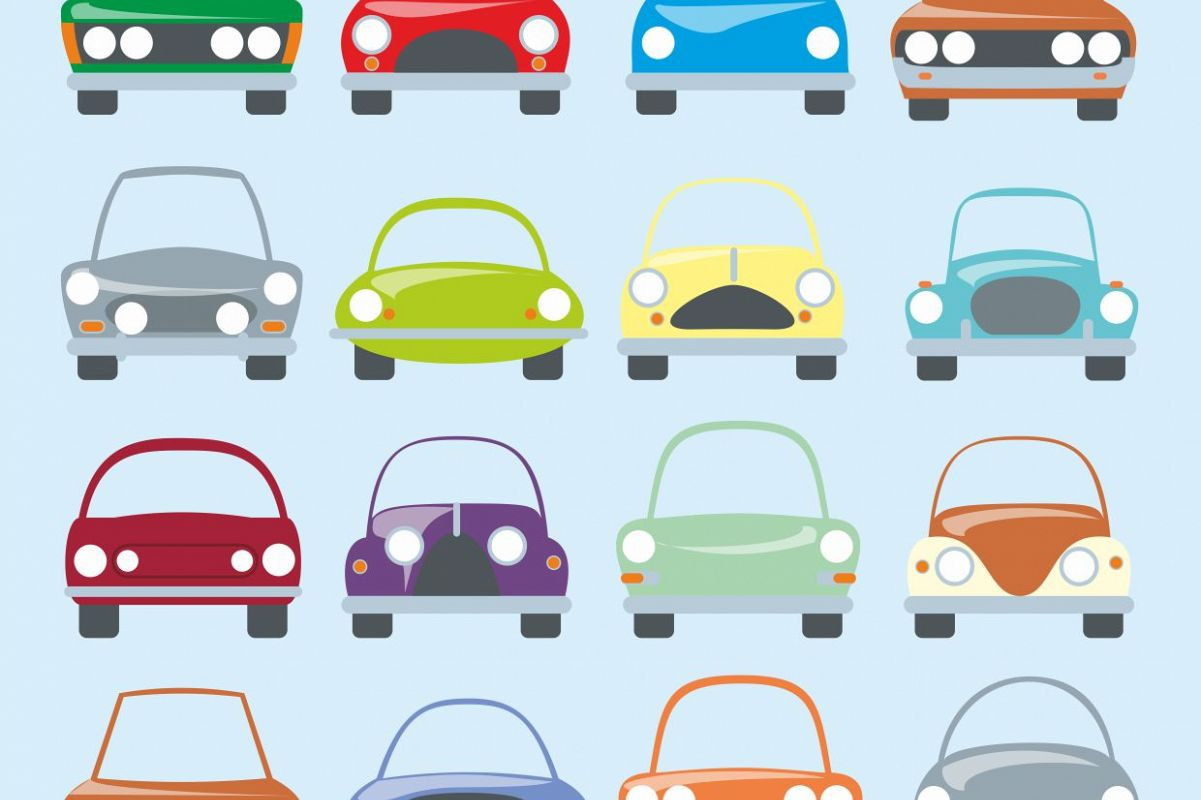 Clipart cars printable. Digital car stickers coupe