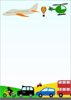 Transport themed a page. Cars clipart borders
