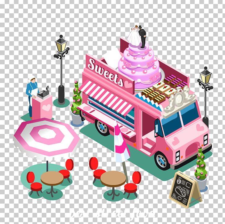 Street food breakfast truck. Cars clipart candy