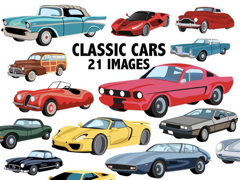 Cars clipart classic. Bundle retro car digital