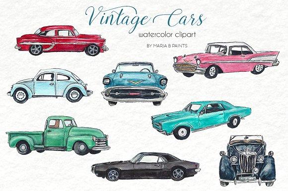 Watercolor set . Cars clipart classic