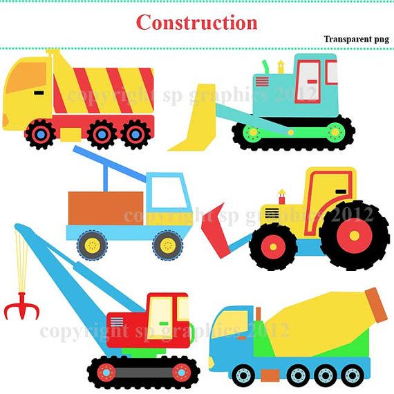 Vehicles for cards scrapbooking. Cars clipart construction
