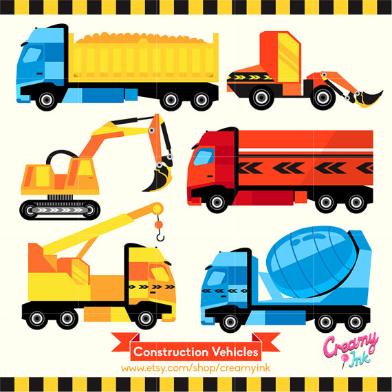 Vehicles digital vector clip. Cars clipart construction
