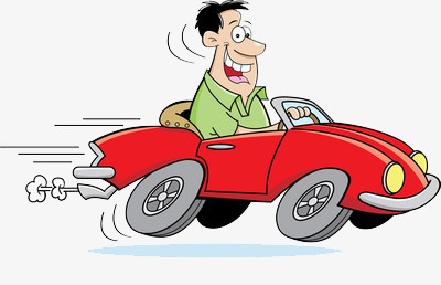 The green man driving. Cars clipart fast