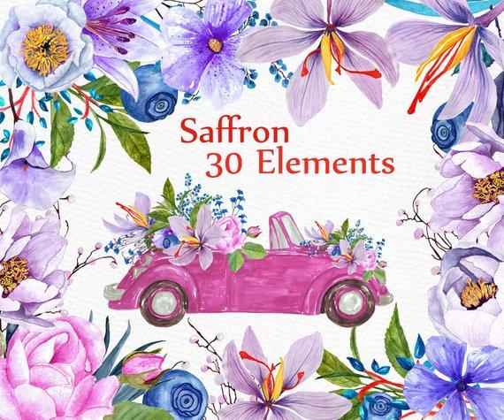 Clipart cars flower. Watercolor flowers wedding diy
