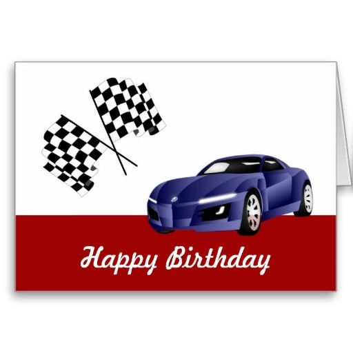 With racing car card. Cars clipart happy birthday
