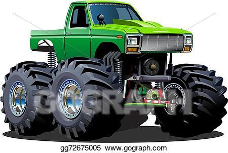 Cars clipart monster. Vector art cartoon truck