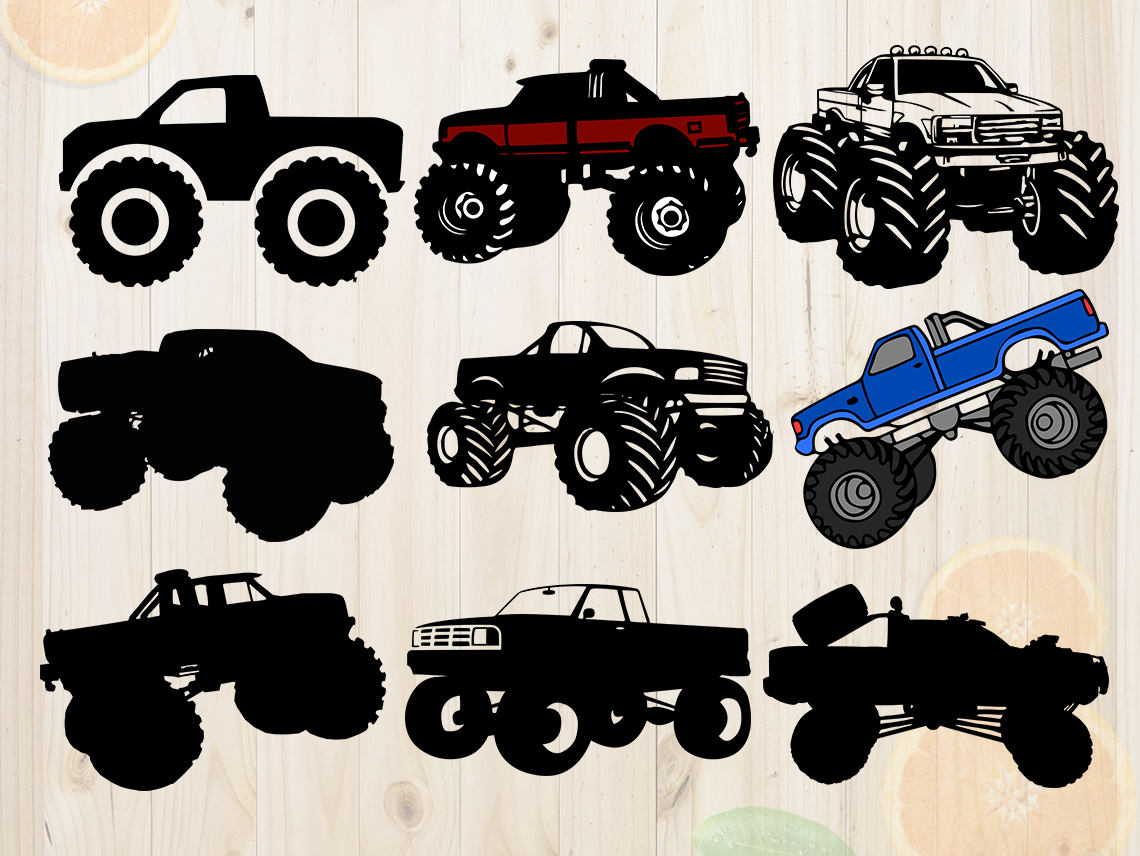 Truck svg dxf cutfiles. Cars clipart monster