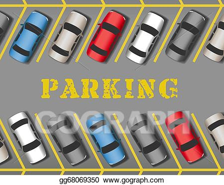 Parking lot clipart filled car. Vector illustration cars park