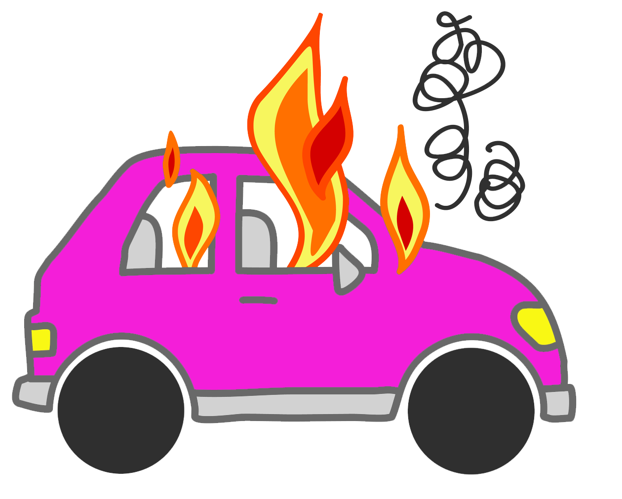 Cars on fire noxad. Clipart car flame