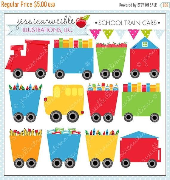 Cars clipart school. Sale train cute digital