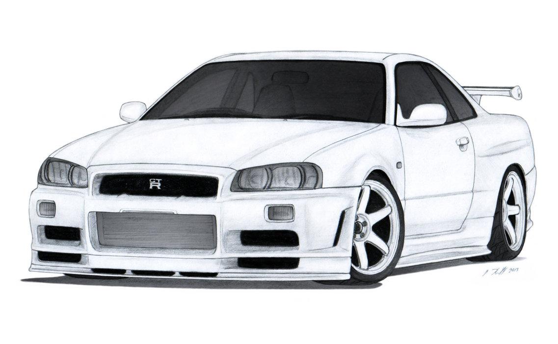Nissan gt r drawing. Clipart cars skyline