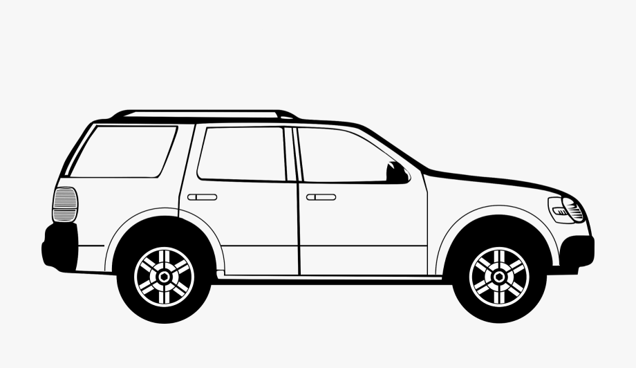 Vehicle black and white. Clipart cars suv