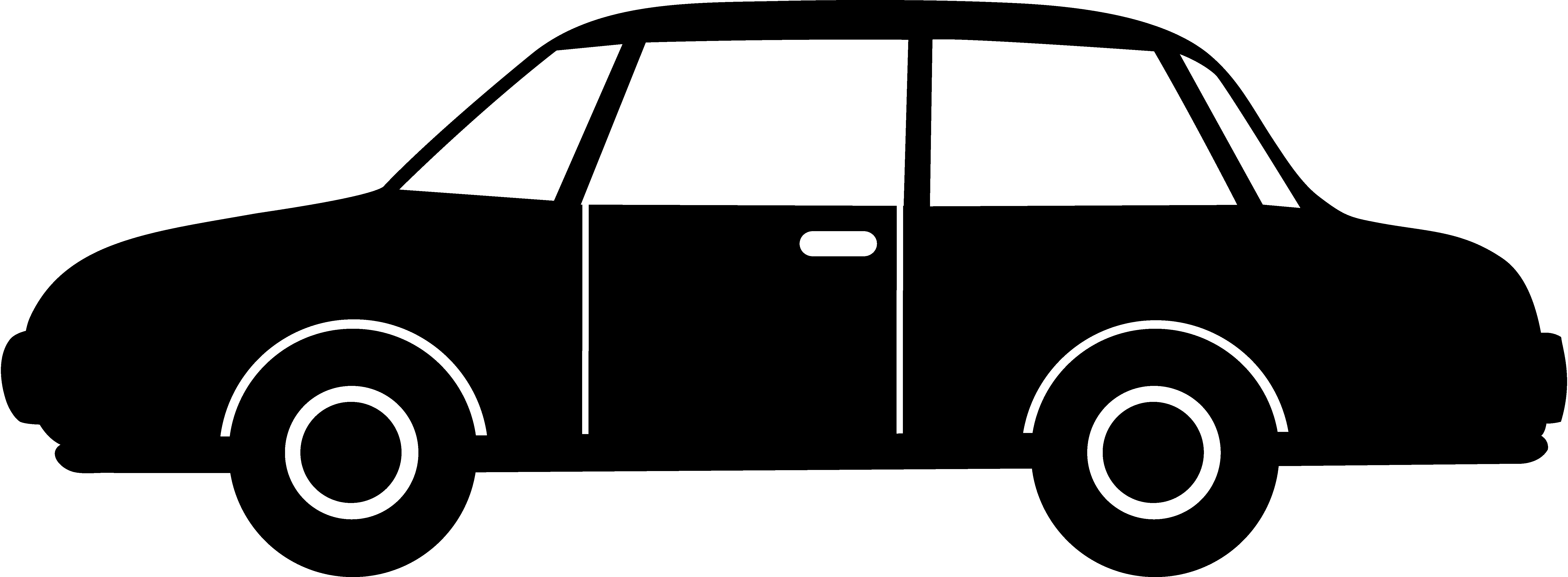 Car silhouette transparent png. Driver clipart black and white