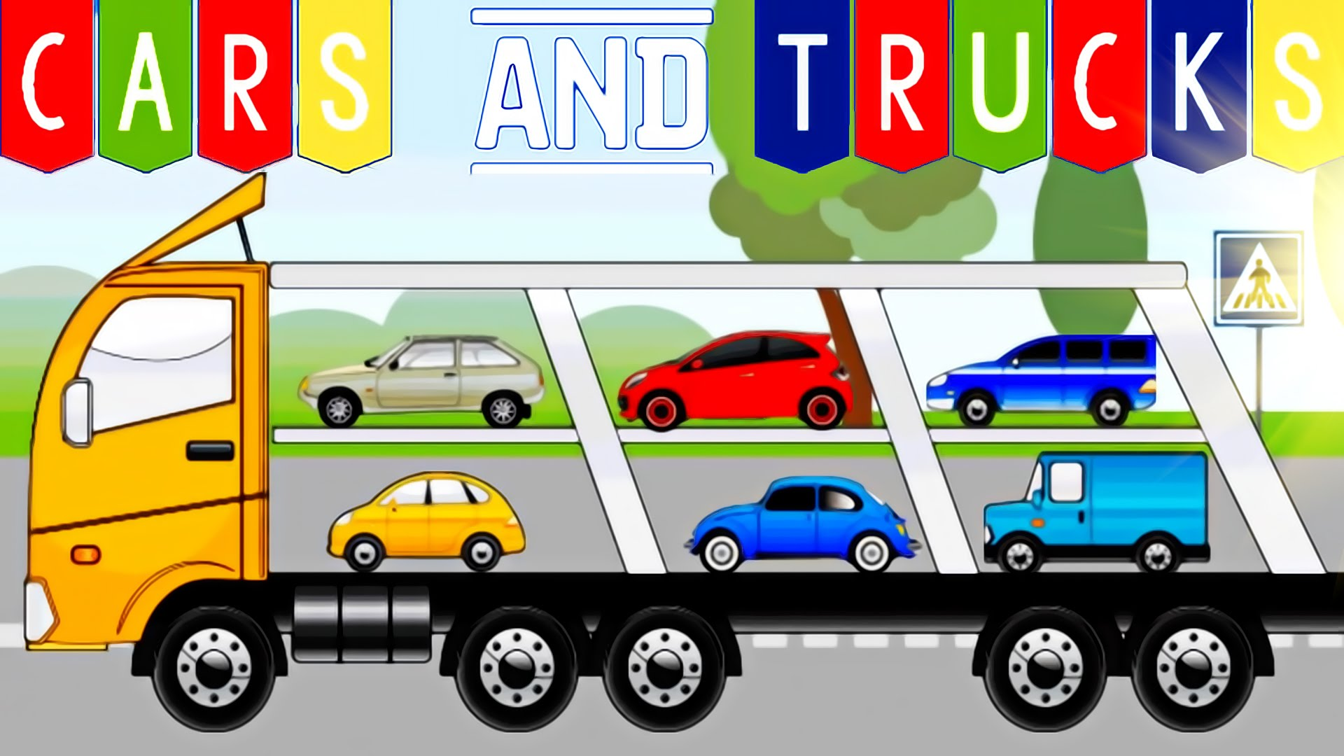 Kids puzzles and trucks. Cars clipart transporter